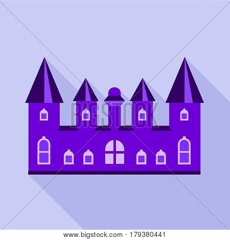 Purple kingdom palace icon. Flat illustration of purple kingdom palace vector icon for web