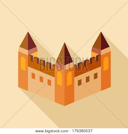 Medieval fortification icon. Flat illustration of medieval fortification vector icon for web