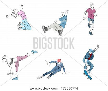Vector illustration of a six teenager set