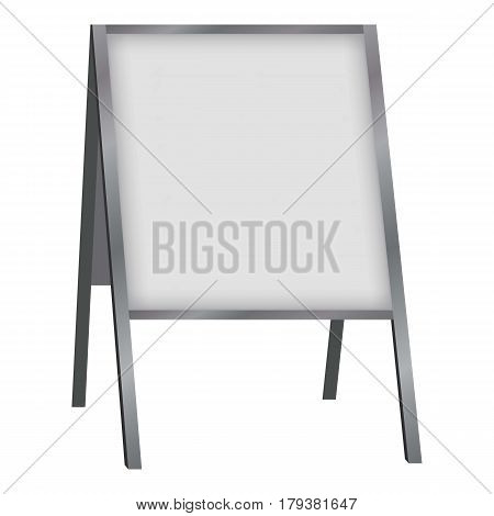 White blank sandwich board mockup. Realistic illustration of white blank sandwich board vector mockup for web
