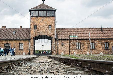 Poland - krakow - 08.05.2015 -Rail entrance to concentration camp Auschwitz Birkenau KZ Poland