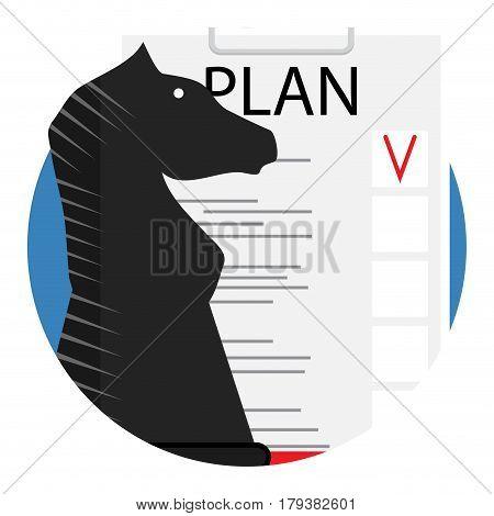 Plan vector icon. Chess horse and report plan illustration