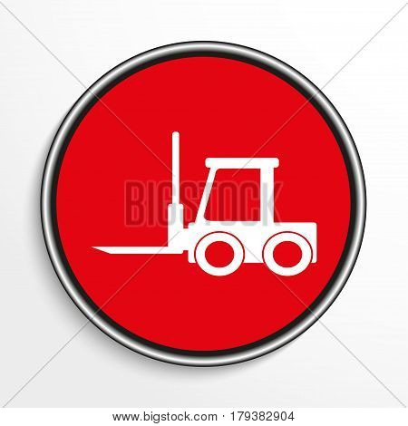 The loader. White vector icon on a red background.