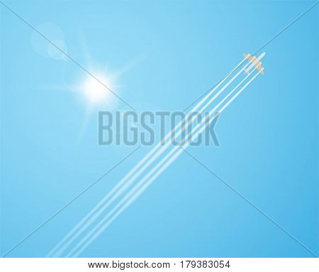 Plane silhouette flying diagonal in the sky with realistic sun and lens flares. Airplane condensation trail or contrails clouds. Bottom view.