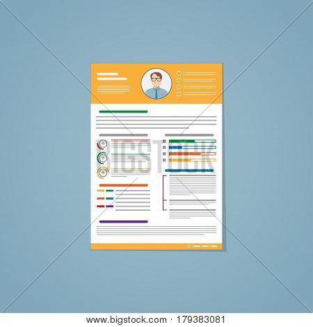 Resume in flat style with yellow lines and a photo of the candidate. It consists of lines of different colors graphs and dates that characterize the person being hired.