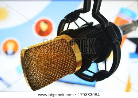 public relations PR microphone for news global map world press people talking photo
