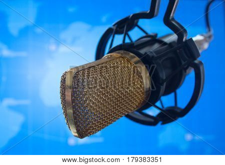 public relations PR microphone for news global map world press photo