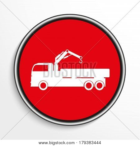 Truck with crane. White vector icon on round red background.