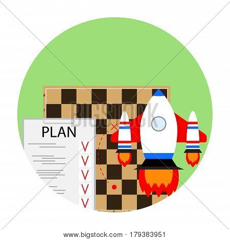 Strategy start business. Brainstorm solution and tactics plan. Vector illustration