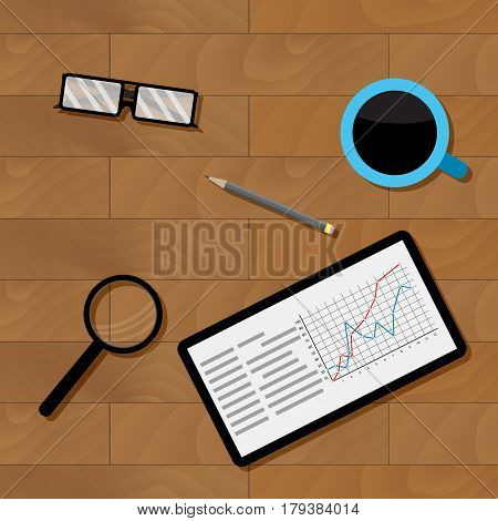 Workplace businesman top view. Statistical document wood table. Vector illustration