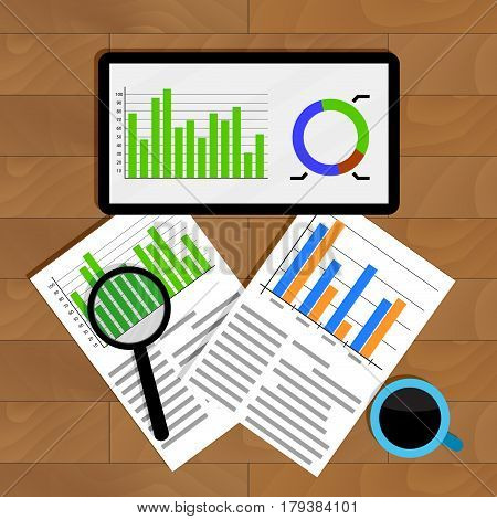 Analytics and statistics. Graph on tablet financial research and analyzing annual statistic vector illustration