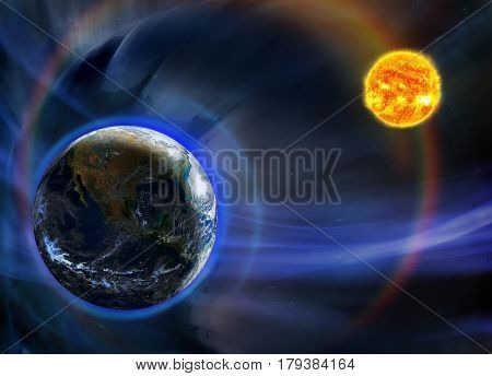 Fantasy image of the planet Earth orbiting close to the Sun.