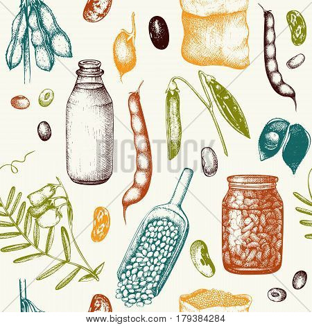 Vintage background with industrial crops illustration. Farm fresh and locally grown organic products illustration. Seamless
