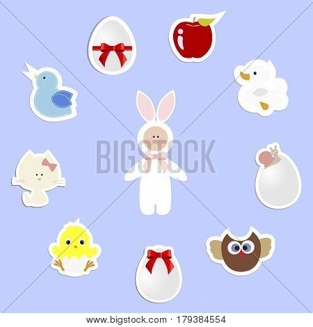 round frame with a set of baby stickers for Easter. template for greetings or scrapbook. vector illustration. baby shower or arrival