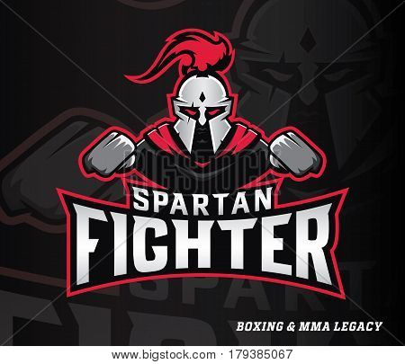 Vector sportive illustration of Spartan boxer fighter