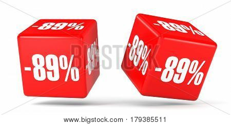 Eighty Nine Percent Off. Discount 89 %. Red Cubes.