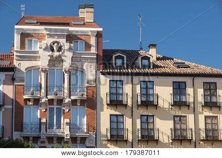 Burgos (Castilla y Leon Spain): facade of historic building with balconies in the Plaza Mayor