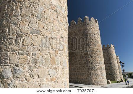 Avila (Castilla y Leon Spain): the famous medieval walls surrounding the city