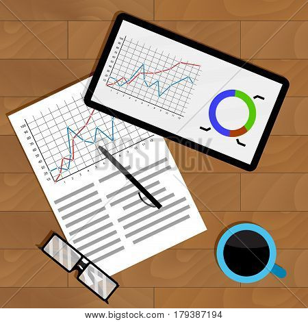 Annual economic report. Growth analyzing economy vector illustration