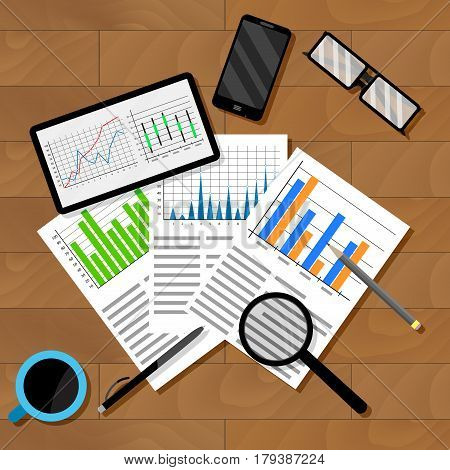 Economic analytics of infographics. Analyzing report chart and graphics. Vector illustration