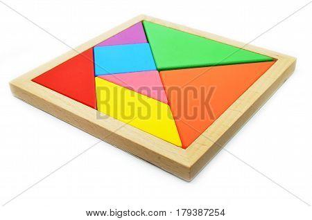 Ancient Chinese art of tangram puzzles on white background