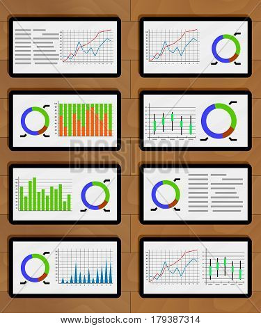 Set of chart and graphic on tablets. Statistical report infographic presentation. Vector illustration