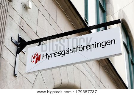 Sundsvall Sweden - May 30 2016: Close-up of the Swedish Union of Tenants (Hyresgastforeningen) sign at the office on street Storgatan.