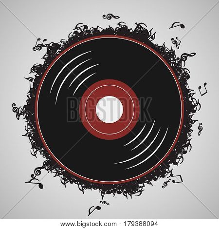 Vinyl record music notes - İllustration vector