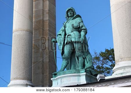 BUDAPEST, HUNGARY - AUGUST 08, 2012: Sculpture of king Matthias I (Zala Gyorgy 1905). As part of Millennium Monument on the Heroes' Square. Matthias Corvinus was King of Hungary from 1458 to 1490.