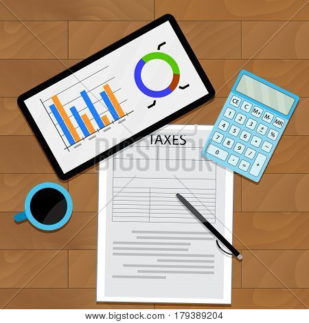 Consider taxes concept. Analytics graph and report infochart vector illustration