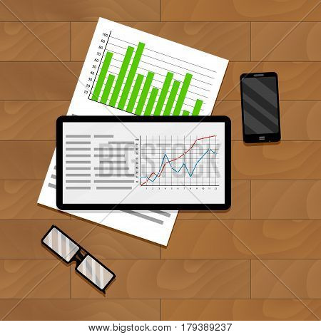 Economic and financial statistics. Research and analyzing graph and chart. Vector illustration