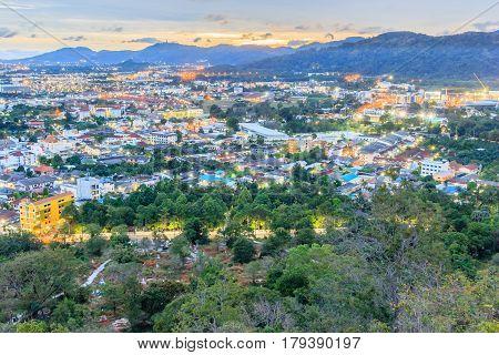 Khao Rang Viewpoint of Phuket city in night Phuket province Thailand