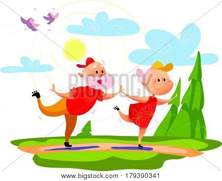 Vector flat portrait of old cute loving couple roller skating. Cartoon style. Love forever. Grandparent character illustration. Happy people skating. Healthy lifestyle. Good for postcard design
