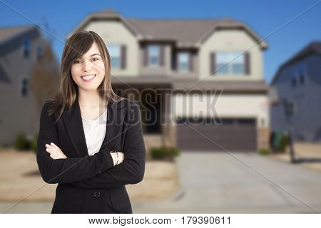 Woman real estate agent holding buy, sell and rent offers on residential house background