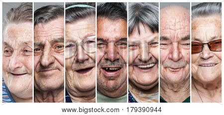 Happy old people. Portrait collage of delighted smiling elderly men and women