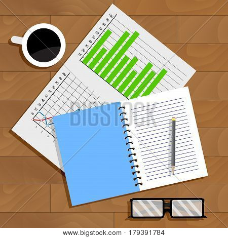 Working with data chart. Document and paperwork vector illustration