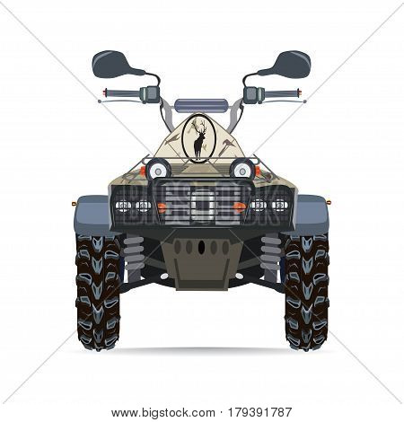 Vector illustration of quad bike isolated on white background. All-terrain vehicle flat style design.