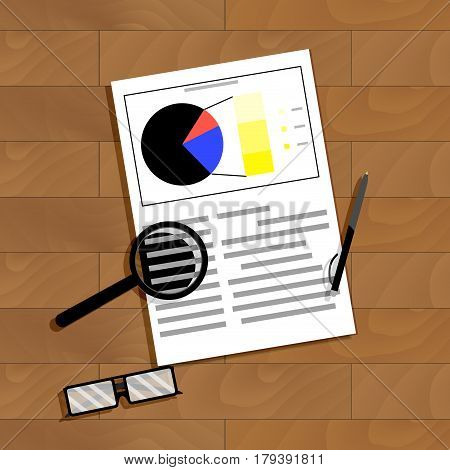 Analytics of data statistics. Financial paperwork bookkeeping work vector illustration