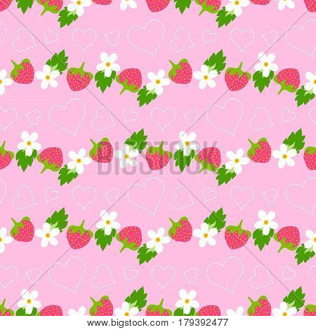 Floral seamless pattern with strawberry, daisies and hearts