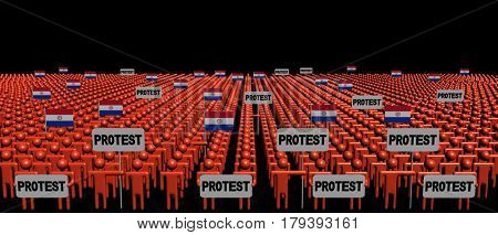 Crowd of people with protest signs and Paraguay flags 3d illustration