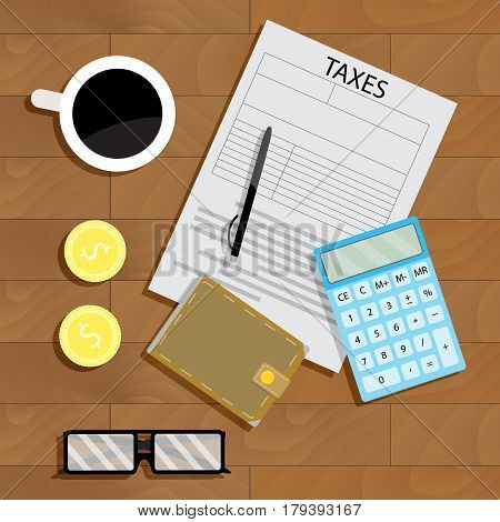 Tax pay vector. Currency accounting and paperwork on table illustration