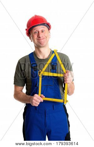 Worker With Yardstick- House