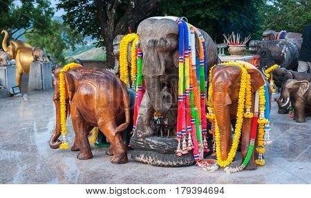 Scenic view of the festival-dressed group of elephants