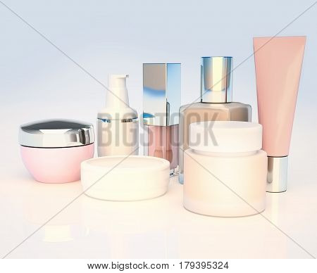 Cosmetics set on light background. Daily beauty cosmetic. 3D illustration