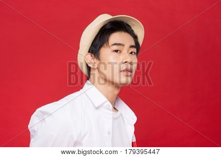 Portrait Of Elegant Young Handsome Asian Man With Hat. Cool Fashion Male Model.