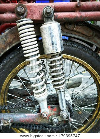 Old vintage motorcycle shock absorber, Close up image