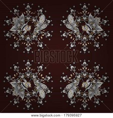 Gold Sketch on texture background. Damask seamless pattern repeating background. Gold brown floral ornament in baroque style. Golden element on brown background.