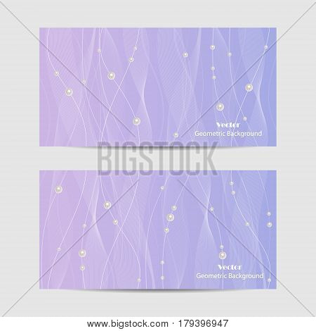 Set of horizontal banners. Beautiful white tulle with pearls on violet background