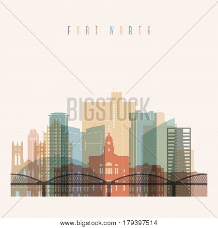 Transparent style Fort Worth state Texas skyline detailed silhouette. Trendy vector illustration.