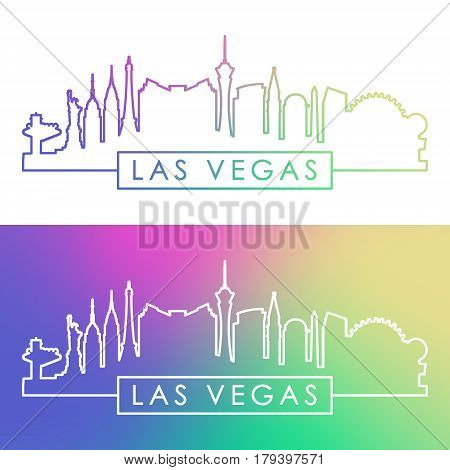 Las Vegas skyline. Colorful linear style. Editable vector file.